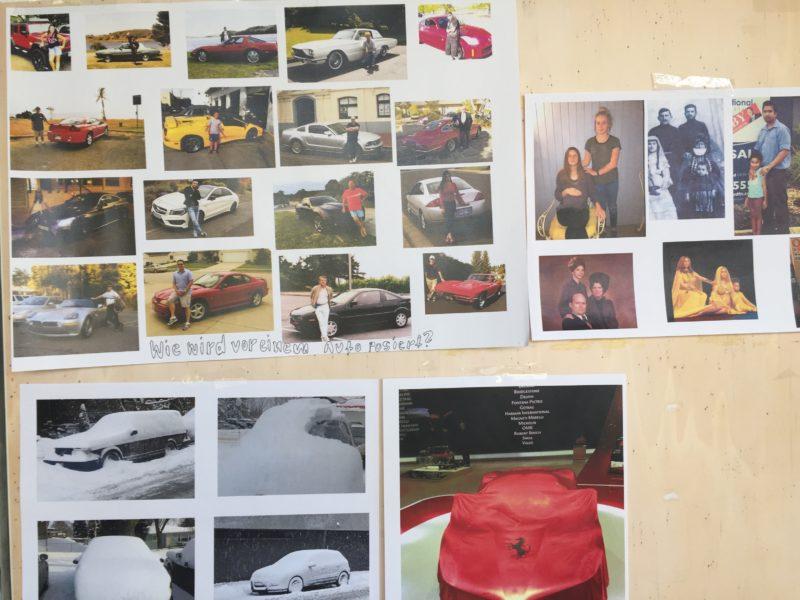 Einblicke in den Arbeitsprozess: Nathalie Matters Recherchewand im Atelier der Visuellen Kommunikation