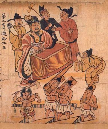 """""""Sutra der Zehn Richter"""": Hier wird der Gerichtshof im buddhistischen Jenseits in vielen Einzelheiten gemäß der Tang-zeitlichen chinesischen Rechtspraxis dargestellt. Schriftrolle (Papier, Tusche, Farbe), Detail. China, 10. Jh.; gefunden in den Höhlentempeln von Dunhuang"""