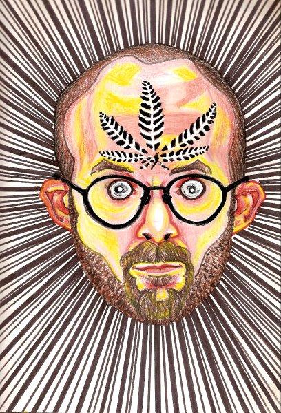 Der amerikanische Künstler Bryan Saunders testete etliche Drogen am eigenen Leib - und zeichnete nach dem Konsum Selbstportraits. In diesem Fall: Cannabis.