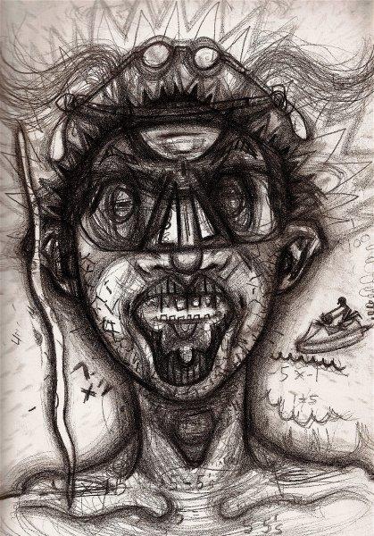 Dieses Selbstporträt zeigt Saunders nach dem Konsum von Kokain.