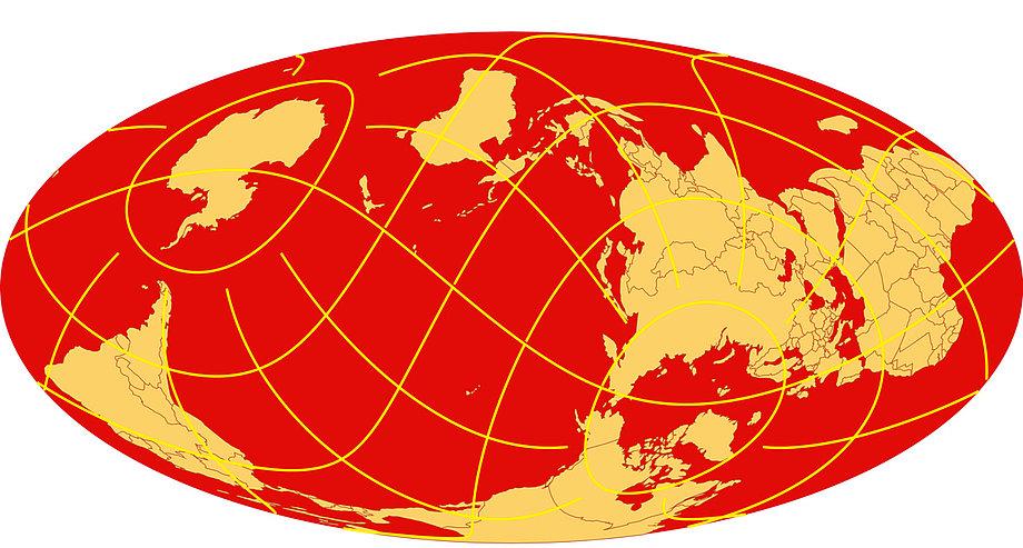 2013 worldmapgenerator: Mollweideprojektion mit beliebigem geografischen Zentrum und verschiedenen Gestatlungsparameter.
