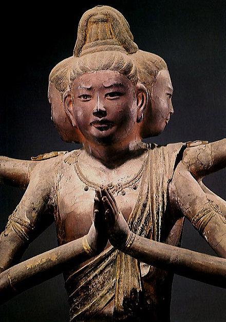"König Asura (ashura-?) / Statue (Trockenlack), Detail. Nara-Zeit; ""Nationalschatz""; K?fuku-ji, Nara"