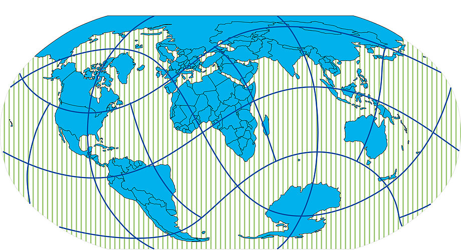 2013 worldmapgenerator: Robinsonprojektion mit beliebigem geografischen Zentrum und verschiedenen Gestaltungsparameter.