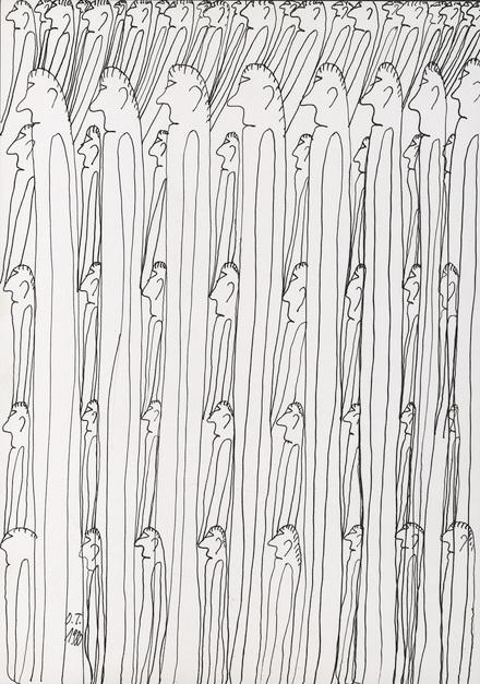 Tschirtner, Oswald, sans titre, 1980 encre de Chine sur papier, 29,7 x 21 cm © crédit photographique: Atelier de numérisation - Ville de Lausanne Collection de l'Art Brut, Lausanne