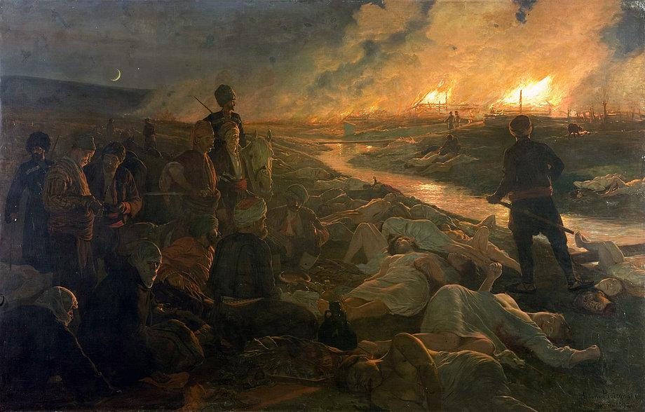 Blutrünstige Bestien oder überwältigt von der eigenen Tat? Antoni Piotrowskis Gemälde «Massaker von Batak» von 1892, Nationalgalerie für Ausländische Kunst, Sofia, Foto: Todor Mitov, 2007