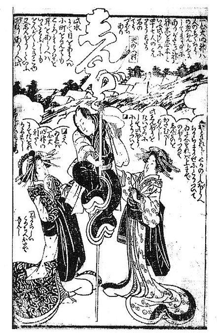 Abb. 4: An die »Geduld«, die als Begriff zentral ins Bild gesetzt ist, klammert sich einer Protagonisten dieses Bildes von 1818 (Aus Fukuchu meisho zue von Kyoden Santo, Kyozan Santo & Kunianao Utagawa)