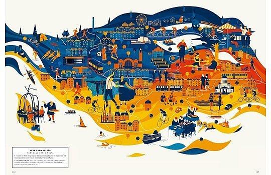A MAP OF THE WORLD: Einen Gegenpool zu den immer genauer erfassten Karten von Google Map bietet diese Sammlung zeitgenössischer Illustrationen. Der Band wurde im Januar 2013 im Gestalten Verlag herausgegeben.