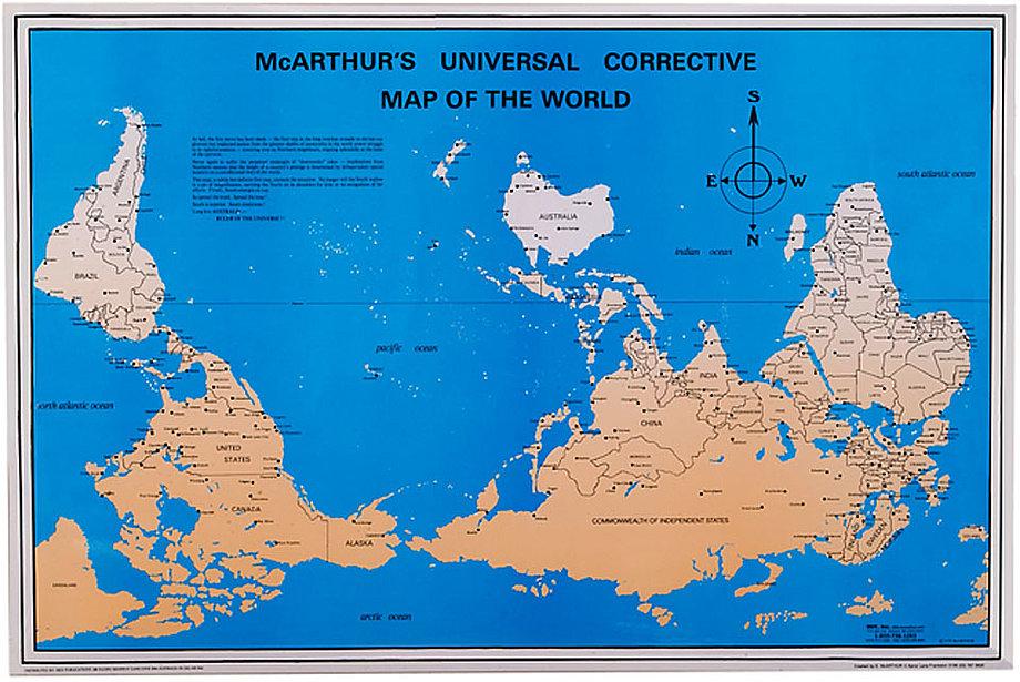 THE UPSIDEDOWN MAP PAGE: Wieso ist der Norden eigentlich immer oben? Francis sammelt und kommentiert Karten die für das westliche Auge auf dem Kopf stehen.