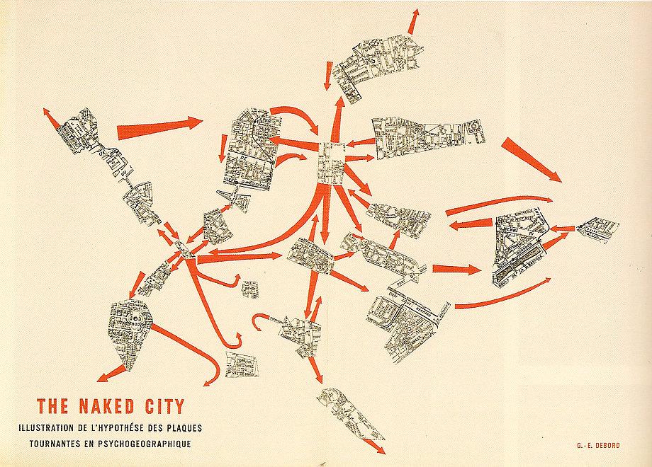 """DÉRIVÉ UND PSYCHOGEOGRAFIE: Die Situationisten versuchten in den fünfziger Jahren die unmittelbare Wirkung ihres geographischen Milieus auf das Verhalten der Individuen zu untersuchen. Mit der Methode die sie dérivé, was übersetzt sich treiben lassen, umherschweifen oder abdriften bedeutet, den Stadtraum neu zu erfahren. Das Umherschweifen im engeren Sinne ist eine kollektiv organisierte Erkundung bisher unentdeckter Nutzungsmöglichkeiten des Stadtraums. Dabei soll die kapitalistische Umwelt und die Wirkung der urbanen Umgebung auf kritische Weise erforscht werden. Die Beteiligten verzichten dabei über längere Zeit auf ihre Arbeit und ihre Beziehungen, um sich im urbanen Raum treiben zu lassen. Diese Erkundungen grenzen sich klar vom Reisen oder Spazieren ab, da sie den zufälligen und spielerischen Ansatz lediglich nutzen, um zu neuen Erkenntnissen zum menschlichen Verhalten im Bezug auf die räumlichen Strukturen zu gelangen. Die Psychogeografie, wie die Situationisten diese Untersuchungsmethode nennen, kartographiert die urbane Umwelt mit ihren Handlungsspielräumen, um die Möglichkeiten für eine revolutionäre Praxis zu sondieren. Sie verstehen diese Forschung als neue Wissenschaft, deren Theorien sie unter dem Begriff """"Unitärer Urbanismus"""" zusammenfassen."""
