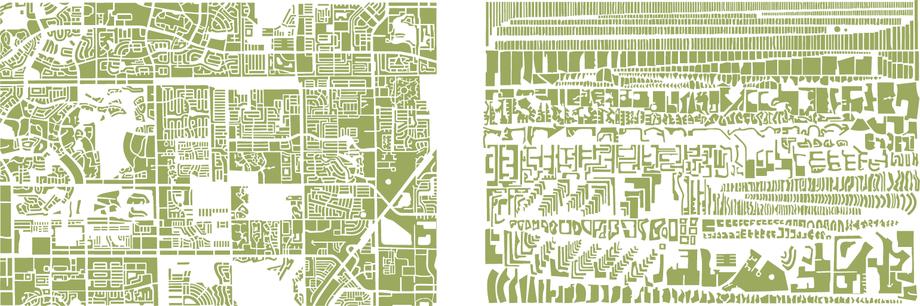 ANAGRAMMES GRAPHIQUES DE PLANS DE VILLES: Die französische Künstlerin Armelle Caron baut die Stadtpläne verschiedener Grossstädte in dekonstruktivistischer Manier um und schafft damit neue Bildräume.