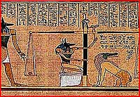 Abb. 1: Ein kleiner Ausschnitt aus den Papyrus von Hunefer - hier wird gerade von Anubis das Herz gewogen.