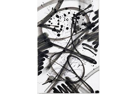 Gen Atem. Vorher: Gothic Futurism: Textura Signoverture, 2013, Acryl und Tusche auf Leinwand, 40 x 60 cm