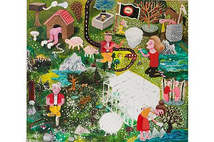 Nachher: Ostschweizer Landschaft, Pimp my Painting, 2013, Mischtechnik auf Holz, 46 x 51 cm
