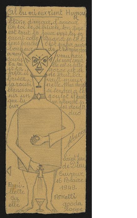 Sylvain Lecocq, Al bu mi eux rient, vers 1949 Crayon noir sur carton, 17,5 x 7 cm © crédit photographique: Atelier de numérisation - Ville de Lausanne Collection de l'Art Brut, Lausanne
