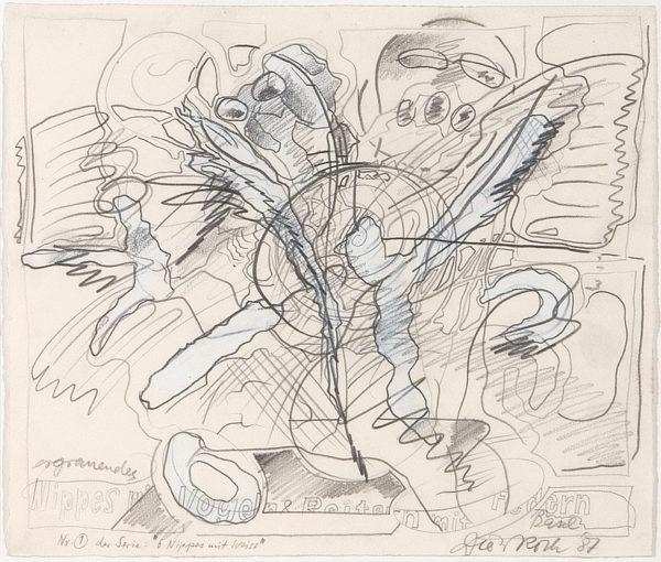 «1. ERGRAUENDES NIPPES MIT VOGEL UND REITERN MIT FEDERN»aus der 6-teiligen Zeichnungsserie «6 Nippes mit Weiss», 1987; Bleistift und Deckweiss auf Papier, 38 x 45 cm; Courtesy Hauser & Wirth / Privatsammlung Schweiz; © Dieter Roth Estate